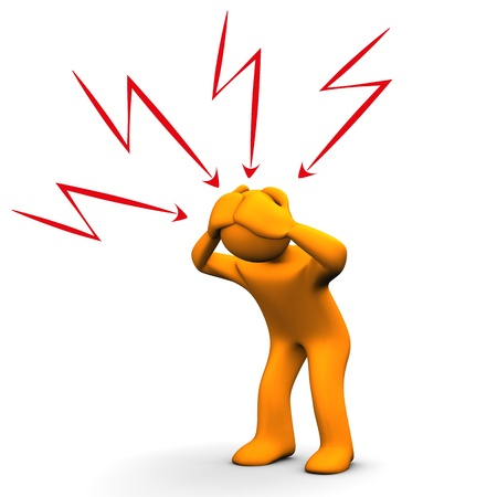migraine: Orange cartoon character have headaches. White background. Stock Photo