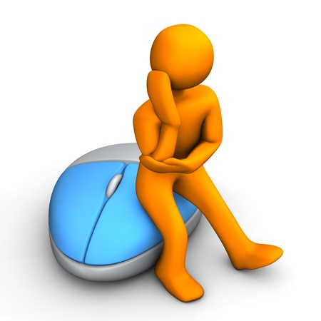 ponder: Orange cartoon character with optical pc mouse. Stock Photo
