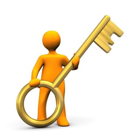 golden key: Orange cartoon character with golden key. White background.