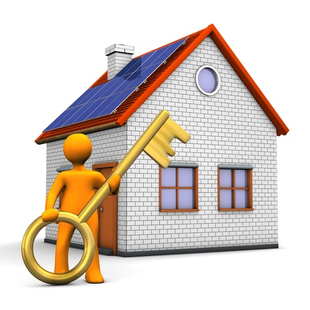 realtor: Orange cartoon character with house and golden key. White background.