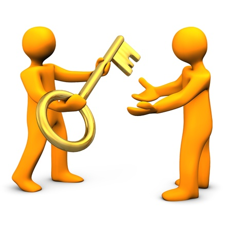 handoff: Two orange cartoon characters with golden key.