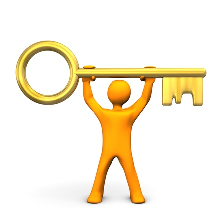 Orange cartoon character with golden key. White background. Stock Photo - 17726467