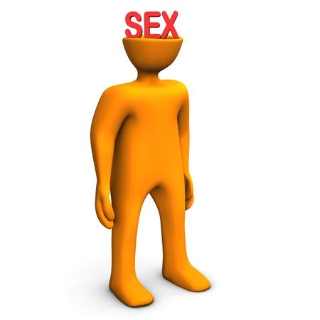 Orange cartoon character has sex in the head. Stock Photo - 17726450