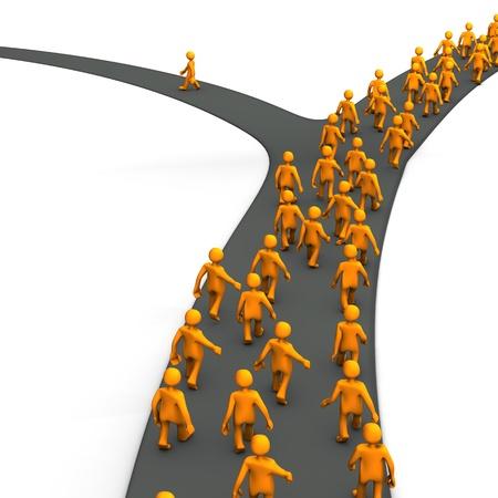 Personnages de dessin animé d'Orange sur la route.