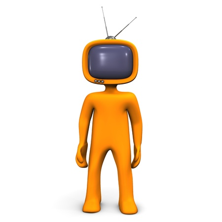 Orange cartoon character have a tv-head. photo