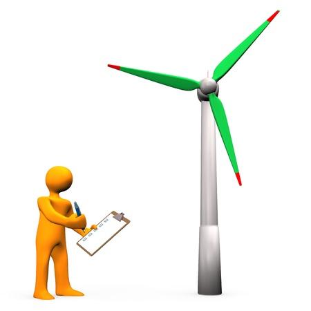 Orange cartoon character tests the wind turbine. photo