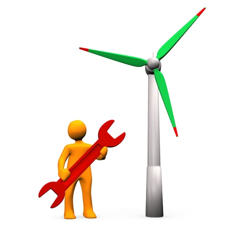 Wind turbine with orange cartoon character with red wrench. photo