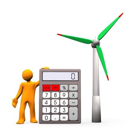 calculation: Orange cartoon character with calculator and wind turbine.