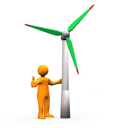 orang: Orang cartoon character with wind turbine. White background. Stock Photo