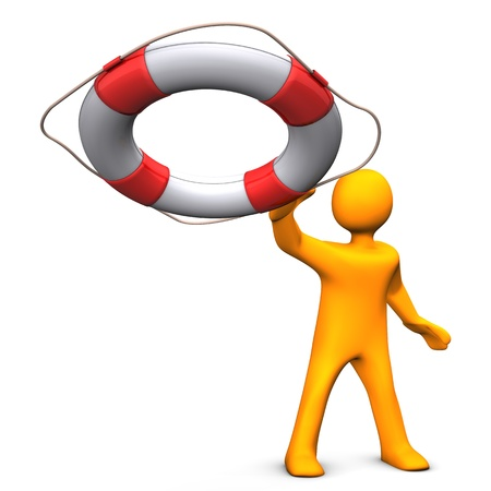 lifeguard: Orange cartoon character throws the lifebelt. White background.