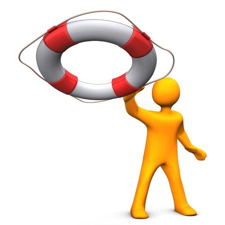 naranja: Personaje de dibujos animados Orange lanza el salvavidas. Fondo blanco.