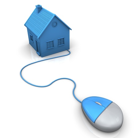 Blue house with pc mouse. White background. Stock Photo