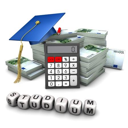 Geldbündel mit Doktorantenhut, Taschenrechner und dem Wort Studium
