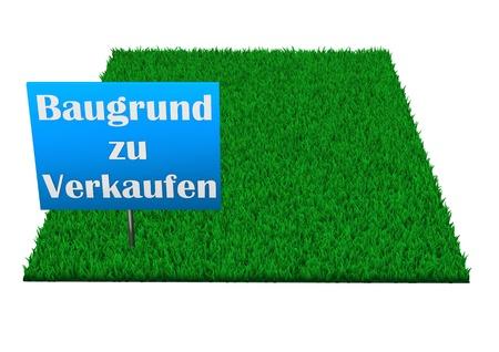 Schild, Baugrund zu verkaufen, auf einem rechteckigen Rasen