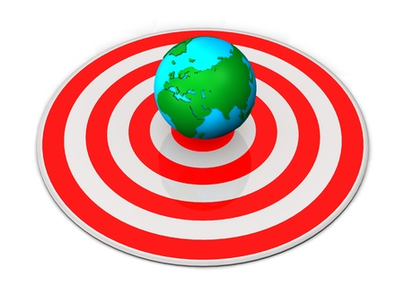 Red target with globe on the white background  photo