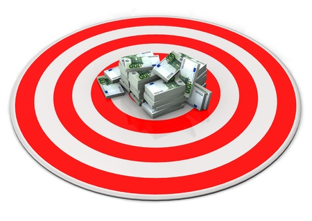 couching: Red target with Euro notes  White background