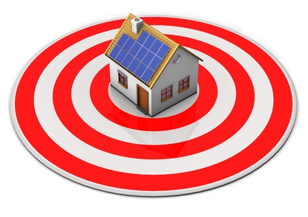 A red targe with a house on the white background  photo