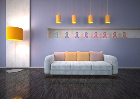 dwell: Interior design with orange light, marble and crocoleather