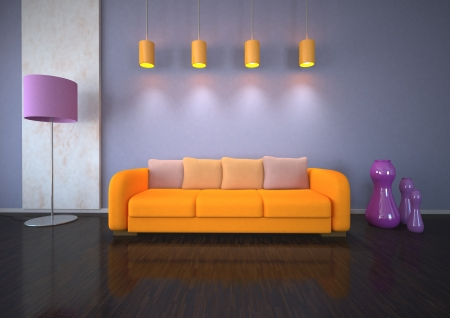 dwell: Interior design with lights and orange couch