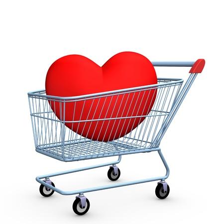 hoer: Blauw Winkelwagen met rood hart. Witte achtergrond. Stockfoto