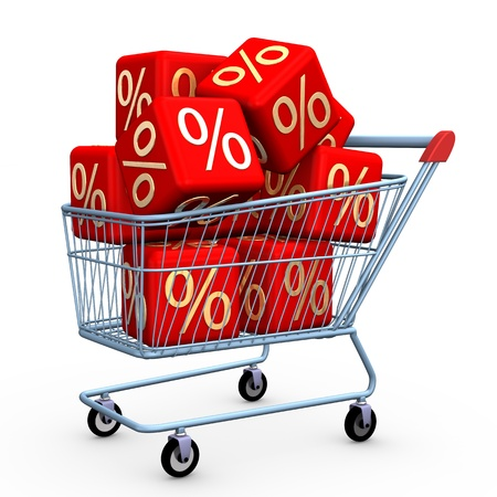 bargain: Shopping cart with sale cubes on the white background. Stock Photo