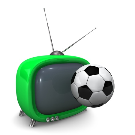 Green TV with soccer ball. White background. photo