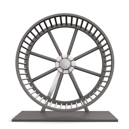 hamster: Empty hamster running wheel on the white background. Stock Photo