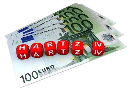 iv: Hartz 4 Würfel auf vier 100-Euroscheinen. Weißer Hintergrund.