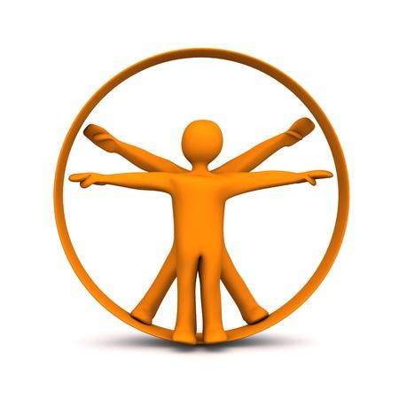 uomo vitruviano: Personaggi dei cartoni animati arancioni in cerchio. Sfondo bianco. Archivio Fotografico