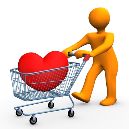 economize: Orange cartoon character with shopping cart and red heart.