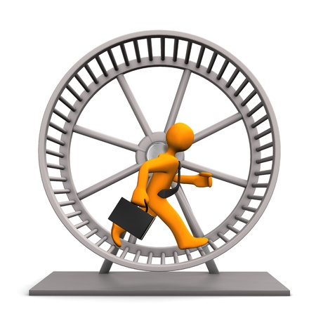 Businessman in the hamster running wheel. White background. Stock Photo - 17972031