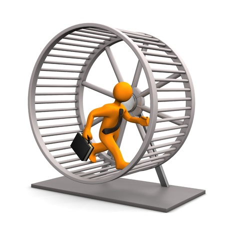Businessman in the hamster running wheel. White background. photo