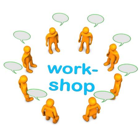 Workshop mit orangen Comic-Figuren. Weißer Hintergrund.