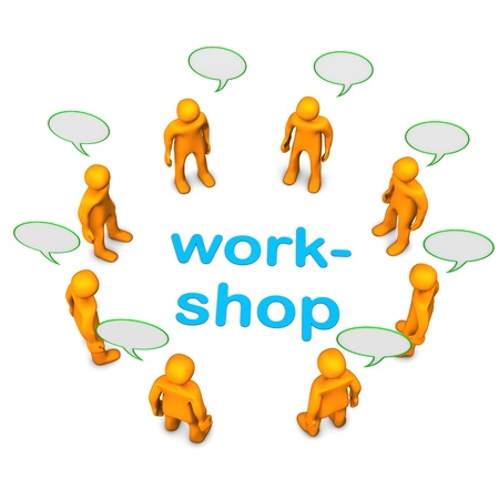 workflow: Workshop with orange cartoon characters. White background. Stock Photo