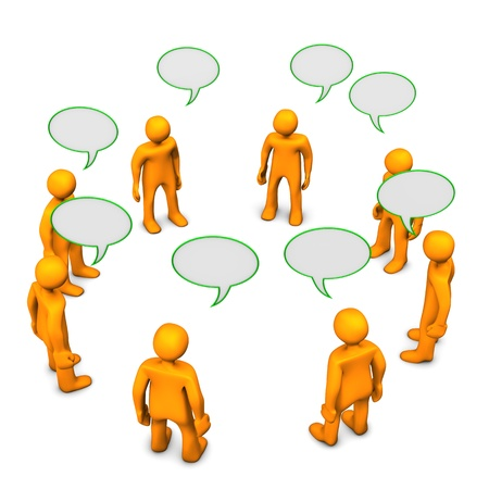 forum: Orange cartoon characters during discussion. White background.
