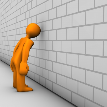 remorse: Orange cartoon characters shows regret. White wall. Stock Photo