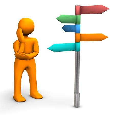 Orange cartoon character with direction sign. White background. Reklamní fotografie
