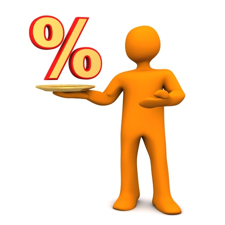economize: Orange cartoon character with golden tablet and percent symbol. White background.
