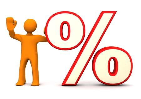abatement: Orange cartoon character with big symbol of percentage.