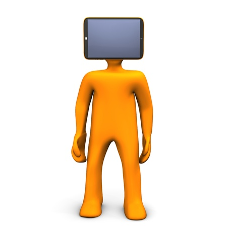 Orange cartoon character with tablethead. White background. photo