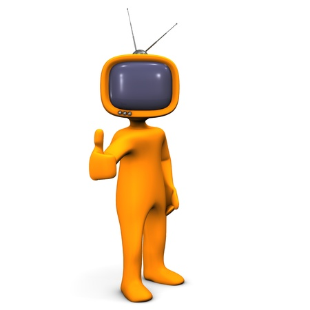 tv show: Orange cartoon character with OK-Symbol have a tv-head. Stock Photo