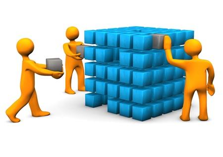 orange man: Orange cartoon characters with cubes. White background. Stock Photo