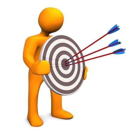 customer focus: Orange cartoon character with target and three arrows. Stock Photo