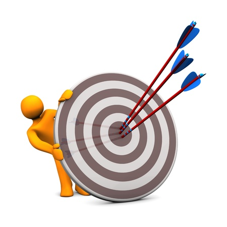Orange cartoon character with target and three arrows. Stock Photo - 17972010