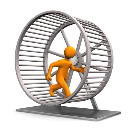 rata caricatura: Orange manikind en la rueda de hámster corriendo.
