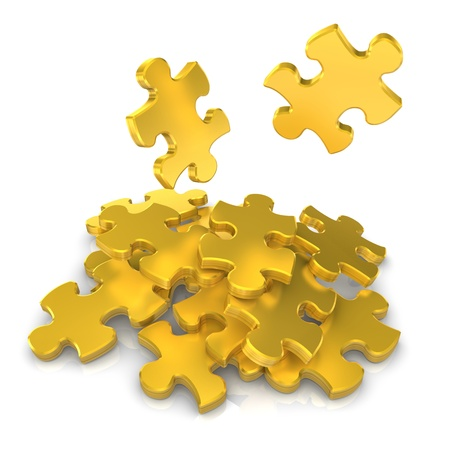 Golden puzzles on the white background  3d illustration Stock Illustration - 17972041