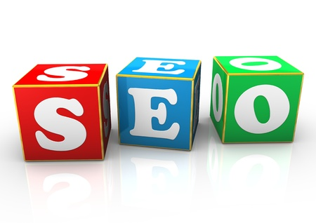 Cubes with the text SEO  White background  photo