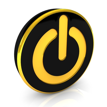 power switch: Start button with black and golden colors  Stock Photo