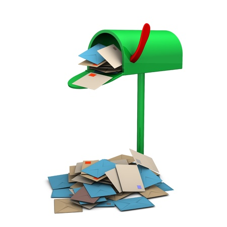 overcrowded: Overcrowded green mailbox on the white background