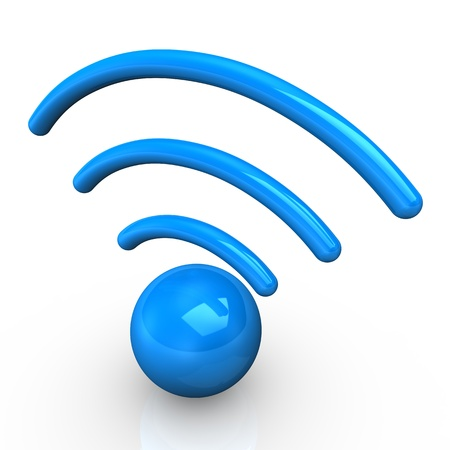 wireless communication: Blue radio symbol on the white background  Stock Photo